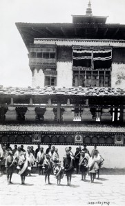 The dzong in Thimphu looks much like this photograph from 100 years ago.