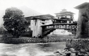 View of bridge outside Punakha, where the 5th King of Bhutan married several years ago.