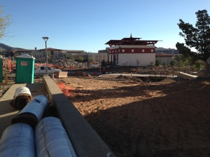 This lakhang (temple) once sat on the National Mall in DC.  It's being readied for public view in UTEP's plaza.