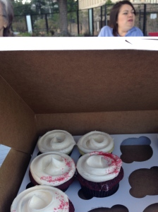 Kayce and the cupcakes, donated by Big Sugar bakery
